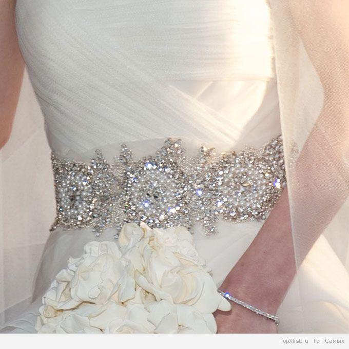 Пояс на свадебное платье с камнями своими руками 45
