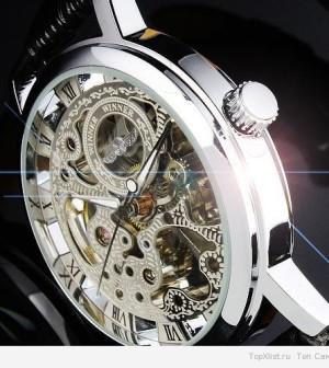 2014-HOT-Silver-See-Through-Skeleton-Dial-Men-Women-Mechanical-Wrist-Watch-Lucky-family